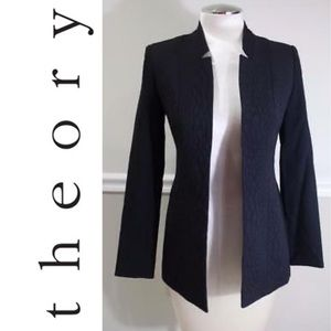 THEORY embossed open front stretch wool blazer